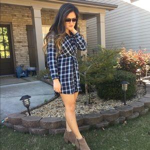 Knot front shirt flannel dress